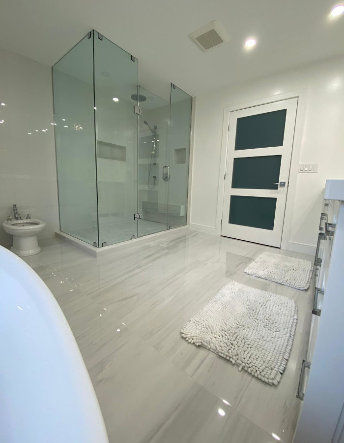 white bathroom corner shot