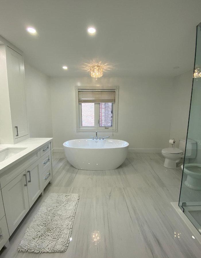 white bathroom door view