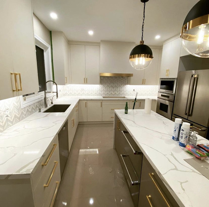 gold and black accent kitchen